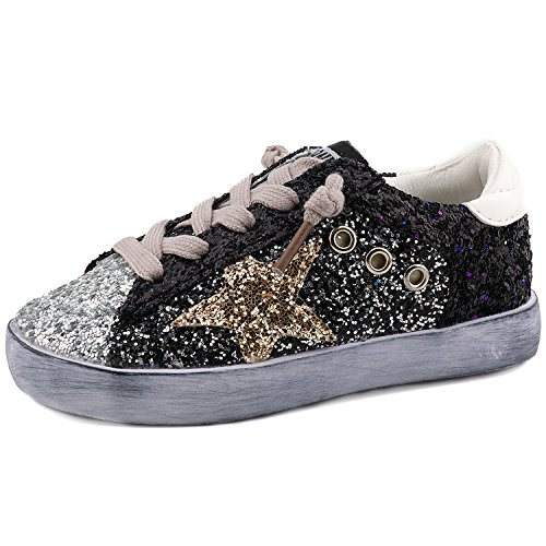 - Bakkotie Toddler Baby Glittler Shoe Girl/Boy Sequin Star Flat Sneaker(F550-Black/BBNN-37)