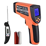 Infrared Temperature Gun, COOKJOY Non-Contact Dual Laser Thermometer Gun with Adjustable Emissivity -58℉~1022℉ (-50℃ ~ 550℃) Instant Read Meat Thermometer for Cooking, Kitchen Food BBQ
