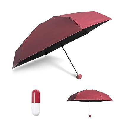 Surenhap Mini Paraguas Paraguas Plegable de Viaje Compacto Ultraligero Mini Paraguas Prueba de Viento Doble-
