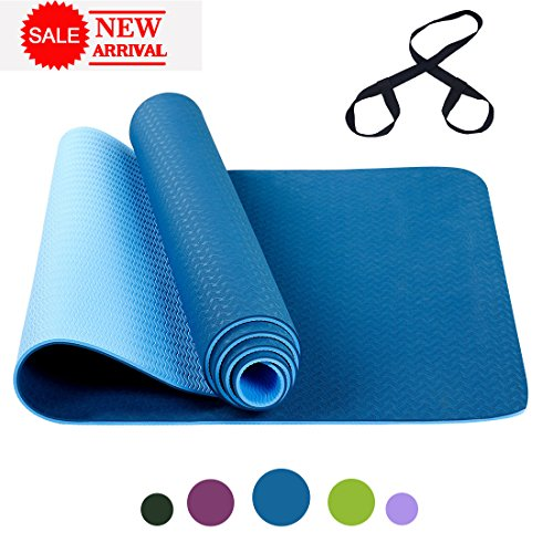 FARLAND Non Slip Yoga Mat with Carrying Strap – Eco Friendly TPE Workout Mat Exercise Mat,Anti-tear Hot Pilates Fitness Yoga Mat in Home & Gym (Blue)