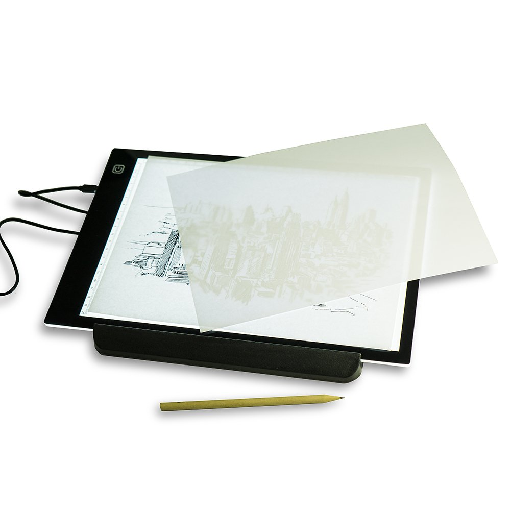 Work4U A4 Ultra-thin Portable LED Light Box Tracer USB Power Cable Dimmable Brightness LED Artcraft Tracing Light Pad Light Box for Artists Drawing Animation Designing Stencilling X-ray Viewing