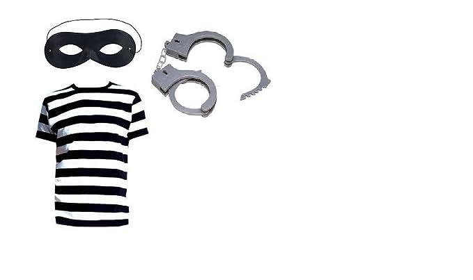 Ladrón Thief adultos disfraz infantil de blanco y negro T-camiseta ...
