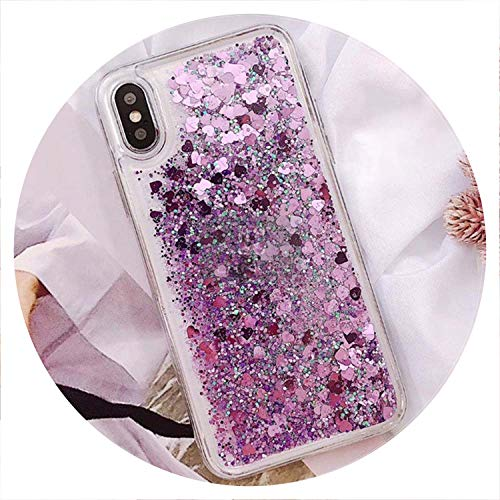 hone Case for iPhone X XR XS MAX Liquid Quicksand Cover for iPhone 5 5S SE 6S 6 7 8 Plus Bling Sequins,Purple,for iPhone 7 ()