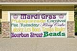 Outdoor Mardi Gras Decorations Garage Door Banner Cover Mural Décoration 7'x16' - Mardi Gras Words - ''The Original Mardi Gras Supplies Holiday Garage Door Banner Decor''