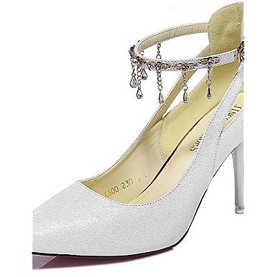 Ggx femme Chaussures Paillettes Printemps été automne hiver talons talons  Mariage fête   Soirée Stiletto Talon Tassel Noir blanc 5a6d255c6ea1