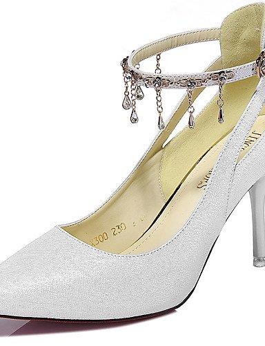 GGX/Damen Schuhe Glitter Frühling/Sommer/Herbst/Winter Heels Heels Hochzeit/Party & Abend Stiletto Heel Perlenquasten schwarz/weiß white-us6 / eu36 / uk4 / cn36