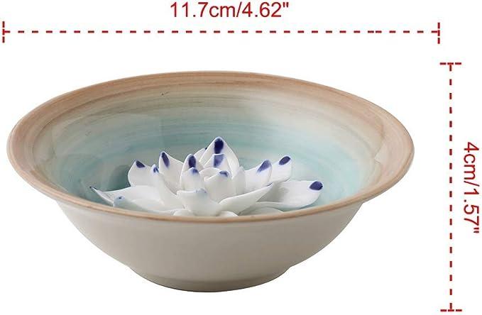 Uniidea Incense Holder for Sticks Coil Lotus Ash Catcher Tray 4.62 Inch Dark Blue Ceramic Handicraft Incense Burner Bowl