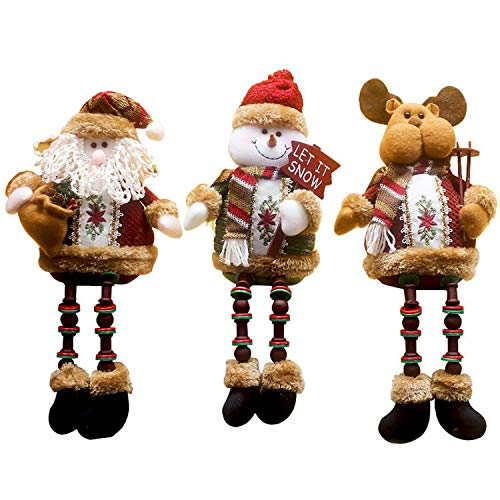 Christmas Ornaments Sale (3PCS/Set Super Cute Christmas Plush Toy Long Leg Sitting Santa Claus Snowman Reindeer Doll Christmas Ornaments)
