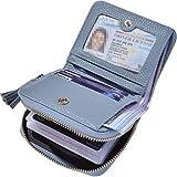 Beurlike Women's RFID Credit Card Holder Organizer Case Leather Security Wallet (Light Blue)
