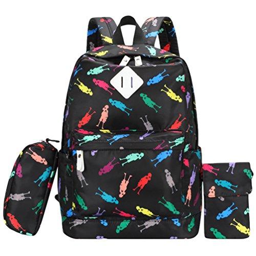 WanYang 3 Piezas Set Backpack Mochilas Escolares Mochila Escolar Casual Bolsa Viaje Bookbag Mochila Laptop Escuela Vistoso