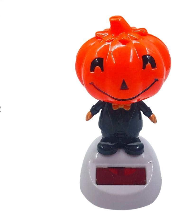 Evenlyao - Figura de Mr. Sonriente, con energía Solar Pumpkin - Figuras de Cabeza oscilante para Halloween, Coche, salpicadero, decoración