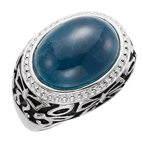 Sterling Silver Opaque Apatite Ring Size 8