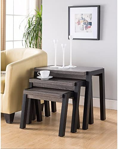 Benzara Showcasing Modern End Table Set of 3 , Gray Black