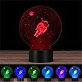 New Style 3D Laser engraving Night Light Thouch Table Desk Lamp &USB,Crenye 7 colors change for Holiday gifts (Space astronauts)