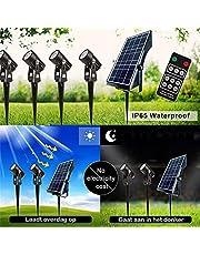 LED Solar tuinspots - set 4 stuks – warm licht – met afstandsbediening