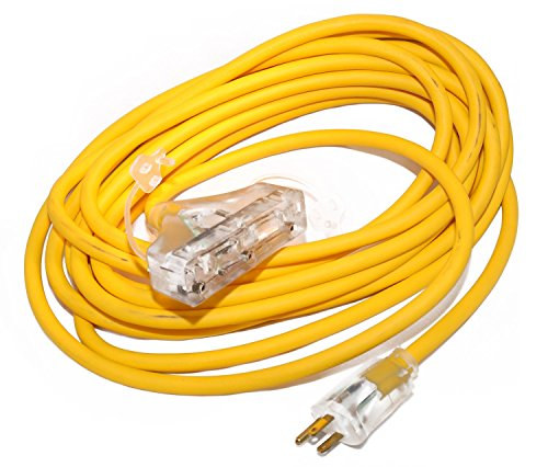 Coleman Cable 03487 12/3-Wire Gauge Tri-Source SJEOW Outdoor Vinyl Extension Cord, 25-Feet from Coleman Cable