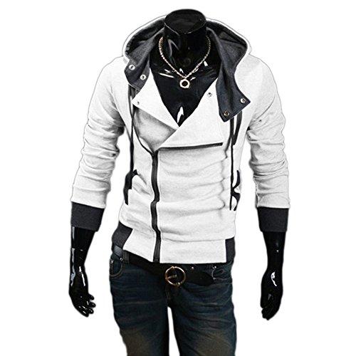 TheLees Mens Casual Luxury Buckle Hoodie Slim Cotton Sweatshirts