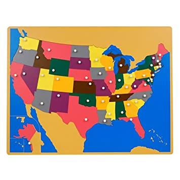 Amazoncom Montessori USA Wooden Puzzle Map With Labeled And - Unlabeled us map