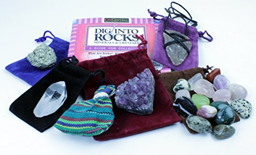 Rock & Mineral Stocking Stuffer Variety Pack, 7 Pc Gift Set w/ Arrowhead Necklace, Pyrite, Amethyst, Tumbled Stones, Worry Dolls, Quartz Crystal Pt and Rock Book, Fun Prizes & Party - Arizona Arrowhead