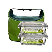 Qianle 2PC Glass Food Storage Container Lunch Box Bento Box Set With Bag