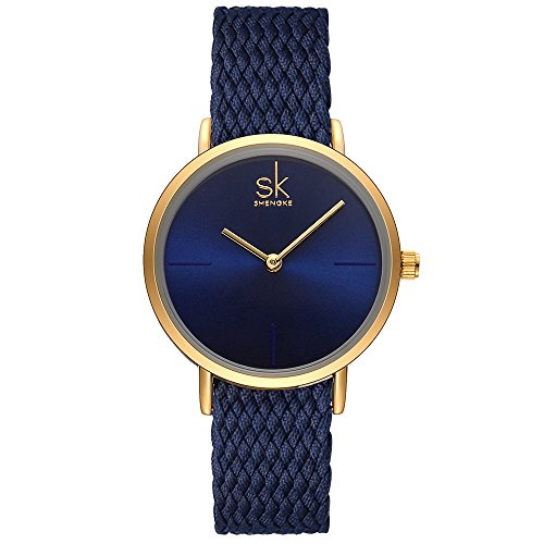 SK Watches Women Stainless Steel Band Ladies Quartz Wristwatches Women Clock Bracelet Watch (Blue Knit Band)