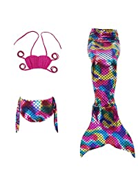 Little Girls Infant Baby 3 Piece Mermaid Swimsuit Beach Surfing Pool Swimwear 4T
