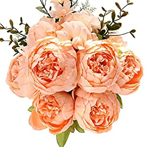 Uworld Artificial Flowers Silk Plastic Fake Peony Flower Vintage Peonies Bouquet DIY Wreath for Home Wedding Centerpieces Décor (Orange Pink) 118