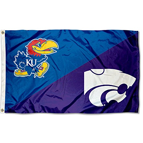 College Flags and Banners Co. K State vs. Jayhawks House Divided 3x5 Flag ()