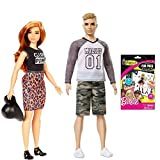 Barbie and Ken Doll 2 Pack - Barbie Fashionistas #64 Lovin' Leopard Doll, Curvy & Ken Fashionistas #8 Camo Comeback Doll, Comes with Barbie Colorforms Sticker Fun Pack Great Gift for Girl