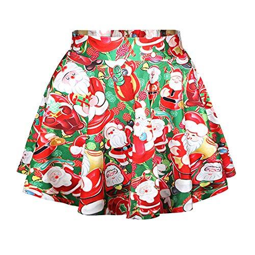 LaSuiveur Women's Santa Claus Print Stretchy Flared Christmas Mini Skirt