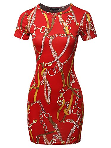 Casucal Printed Sexy Body-con Mini Dress - Made in USA Chain Red ()