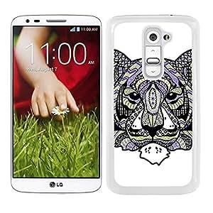 Funda carcasa para LG G2 diseño ilustración tigre estampado azteca verde violeta borde blanco