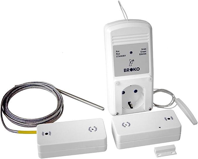 BROKO de radio de seguridad Canalizado Control bl220fat con antena y sonda de temperatura/Interruptores de radio/Antena/Sonda de temperatura/Control ...