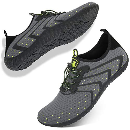 Barerun Water Shoes for Men and Women Barefoot Quick-Dry Aqua Sock Outdoor Athletic Sport Shoes for Kayaking Boating Hiking Surfing Walking Grey 13.5 M US Women 11.5 M US Men