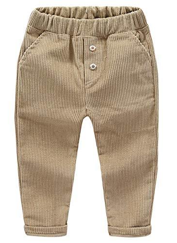 ZETA DIKES Kids Corduroy Stretchy Pants Elastic Waist Flat Front Cotton Trousers for Boys ()