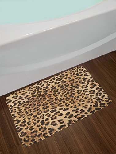 Leopard Print Bath Mat by Ambesonne, Skin Pattern of a Wild African Safari Animal Powerful Panthera Big Cat, Plush Bathroom Decor Mat with Non Slip Backing, 29.5 W X 17.5 W Inches, Pale Brown Black
