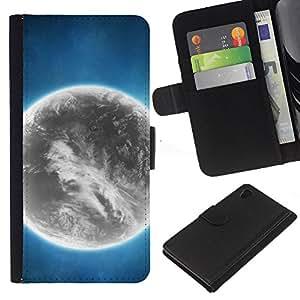 Sony Xperia Z4 / Sony Xperia Z4V / E6508 , la tarjeta de Crédito Slots PU Funda de cuero Monedero caso cubierta de piel ( Grey Planet Alien World Art Bright Atmosphere)