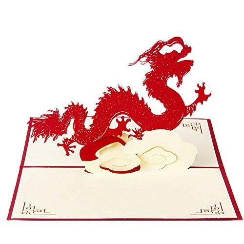 Amrka 3D Pop Up Retro Chinese Dragon Greeting Card Handmade Birthday Valentine Christmas Wedding Invitation
