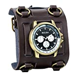 Avaner Mens Retro Steampunk Rock Brown Wide Leather Bracelet Cuff Watches Big Face Round Dial Analog Quartz Sport Watch