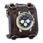 Avaner Mens Retro Steampunk Rock Black Wide Leather Bracelet Cuff Watches Big Face Round Dial Analog Quartz Sport Watch [Upgraded] Japanese Quartz Movement Watch (Brown-1) 9