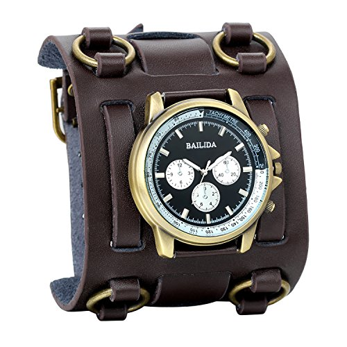 Dial Brown Leather Cuff (Avaner Mens Retro Steampunk Rock Brown Wide Leather Bracelet Cuff Watches Big Face Round Dial Analog Quartz Sport Watch)