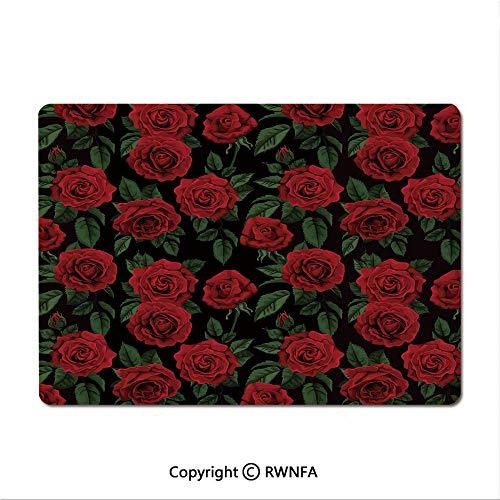 Waterproof Keyboard pad,Valentines Day Retro Style Petals with Leaves Ornamental Growth Pattern(9.8