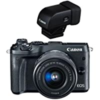 Canon EOS M6 Mirrorless Digital Camera Black Kit with EF-M 15-45mm f/3.5-6.3 IS STM Lens - Bundled with Canon EVF-DC1 Electronic Viewfinder
