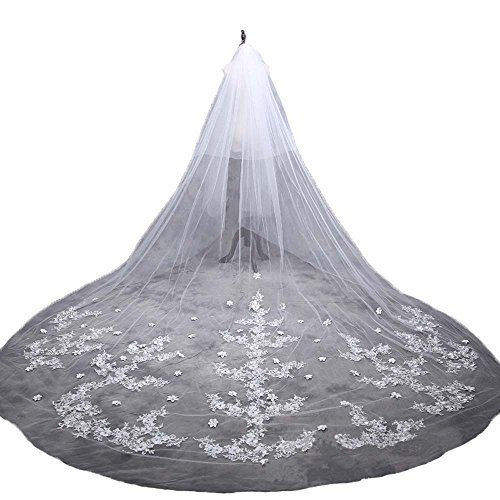 AliceHouse Women's Long 2 Tier Beaded Applique Cathedral Bridal Wedding Veil 045 White