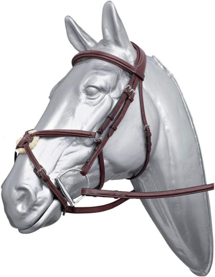 WHFEC Cabezada Piel de Vaca Correa Nasal Acolchada Antideslizante Tamaño Ajustable para Carreras de Caballos