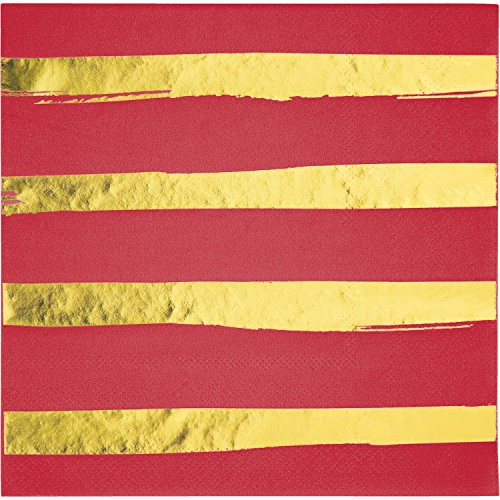Classic Red and Gold Foil Striped Napkins, 48
