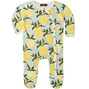 MilkBarn Organic Cotton Footed Romper Lemon (0-3 Months)