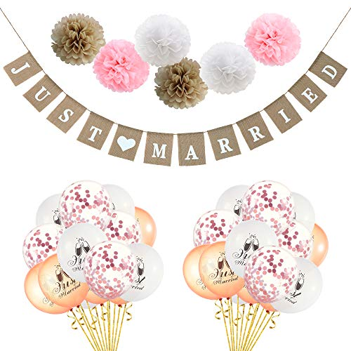LOLOAJOY Linen Just Married Banner Party Decorations Wedding Banner White Rose Gold Just Married Balloons Rose Gold Confetti Balloons with Paper Pompoms Flowers for Wedding Party Supplies]()