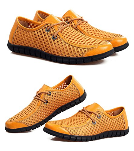 YiLianDa Zapatos Casuales Verano Transpirable Slip-on de Hombres Amarillo
