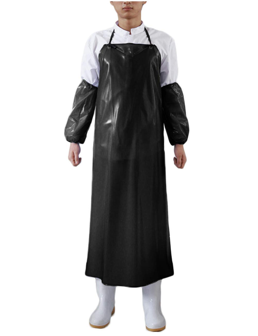 Surblue Waterproof Apron Anti-Corrosion Work Safe Apron Black Apron&Sleeves Set